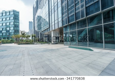 empty ground front of modern buildings - stock photo
