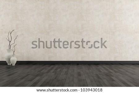 Empty grunge interior with black parquet-rendering - stock photo