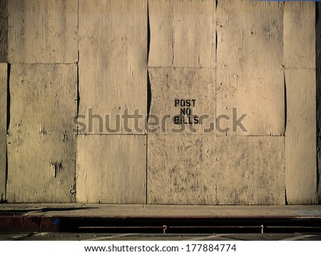 Empty grunge old white plywood wall texture background - stock photo
