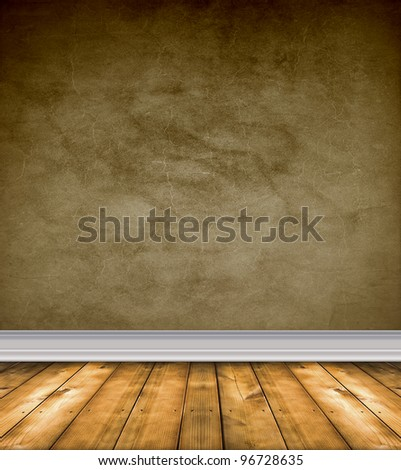 Empty grunge room with brown walls and bare wood floor