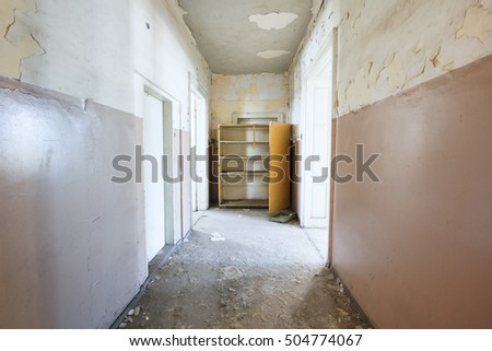 Empty hall in abandoned house