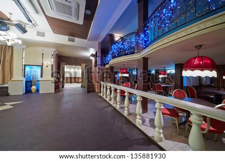 Empty hall in restaurant - stock photo