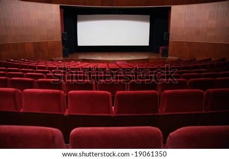 Empty hall of cinema - stock photo
