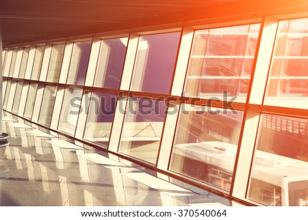 empty hall of modern business center. interior background airport - stock photo