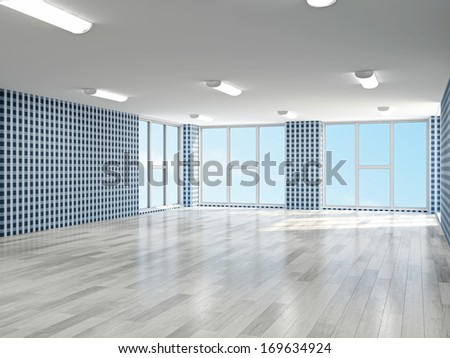 Empty hall with blue wallpaper - stock photo
