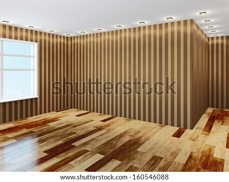 Empty hall with brown wallpaper - stock photo