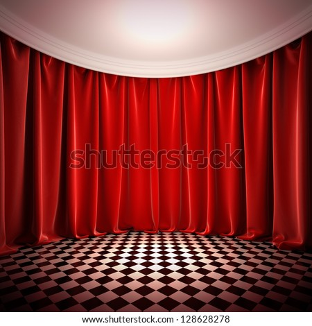 Empty hall with red curtains. A 3d illustration of empty stage in victorian style. - stock photo
