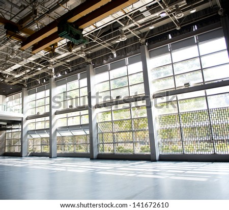 Empty hall with sunlight and shadow. - stock photo