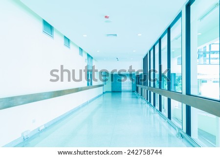 Empty hallway in the hospital - stock photo
