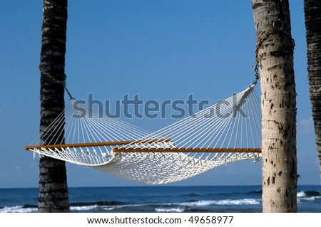 Empty hammock hangs from two palm trees and is surrounded by blue water and blue sky on the Big Island of Hawaii.  Anaehoomalu Bay on the Kohala Coast. - stock photo