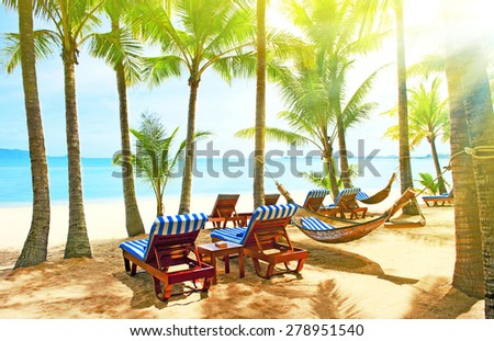 Empty hammock in the tropical beach - stock photo