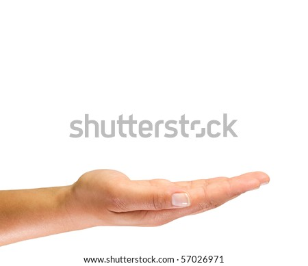 Empty hand isolated on white background - stock photo