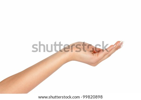 Empty hand isolated on white background - stock photo