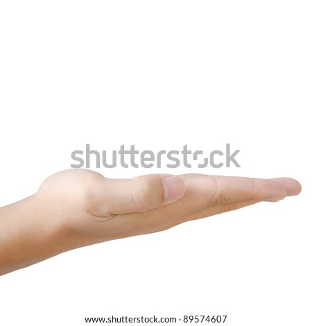 Empty hand on white background - stock photo