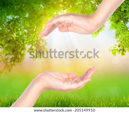 Empty hand over Green leaf background