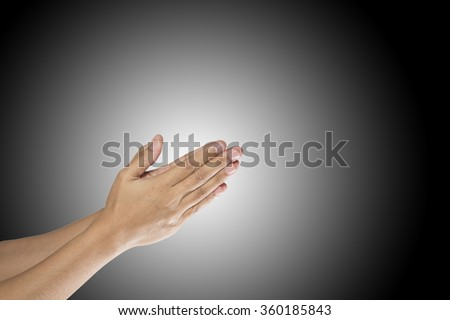 Empty hand showing ,Beautiful woman hand holding isolated on white background