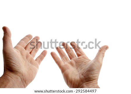 Empty hands reaching, on plain background