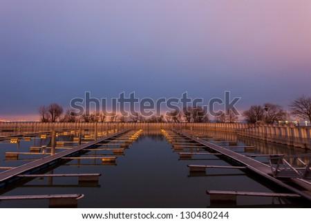 empty harbor at lake constance - stock photo