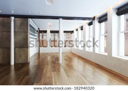 Empty Highrise apartment with column accent interior and hardwood floors  - stock photo