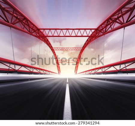 empty highway bridge in motion blur rendered transportation theme illustration design - stock photo