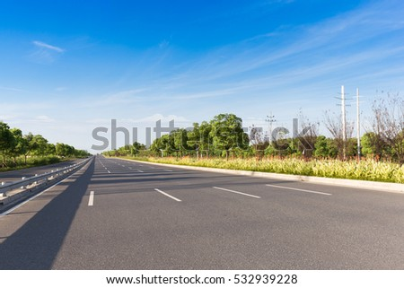empty highway in blue sky