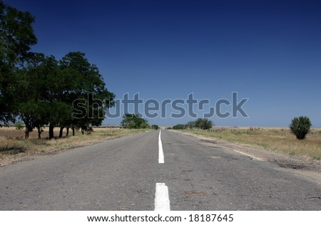 Empty highway in Crimea in Ukraine