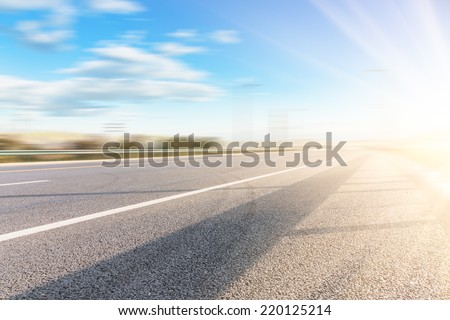 empty highway in shanghai china. - stock photo