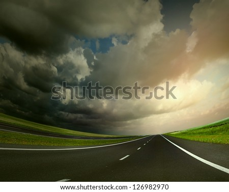 Empty highway in sunset time