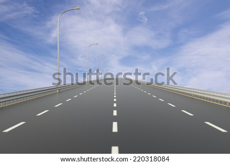 Empty Highway with Cloud Sky. Digitally Generated Image - stock photo