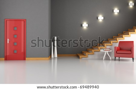 empty home foyer with red armchair and modern stair - rendering - stock photo