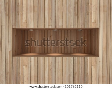 Empty horizontal shelf for exhibit in the wall - stock photo