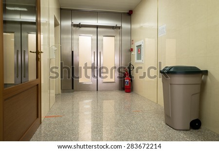 "Empty hospital hall with metal door leading to another clinical unit are seen  in the governmental hospital ""Lozenets"" corridor in Sofia, Bulgaria, June 1, 2015."