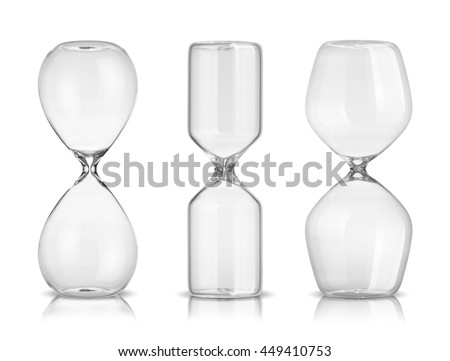 Empty hourglasses isolated on white background