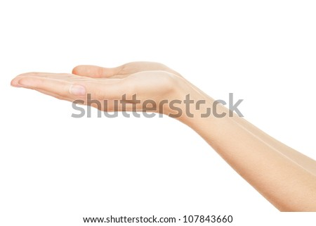Empty Human Hands(Beauty Woman hands) on isolated white - stock photo