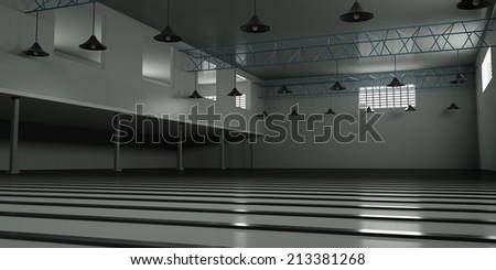 Empty industrial premises, 3d render - stock photo