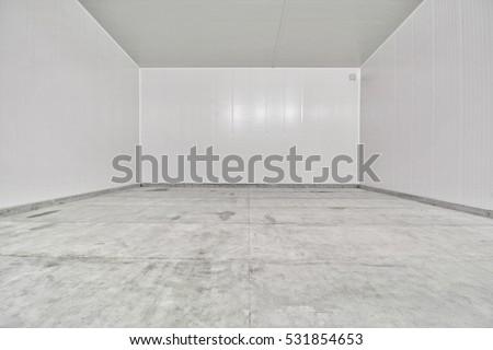 Empty Industrial Room Refrigerator