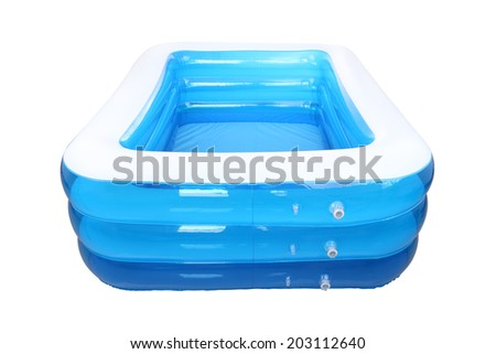 Empty inflatable rubber pool on white background.