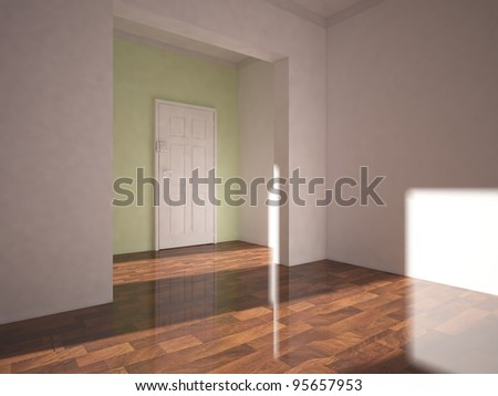 empty interior and white door on the green wall - stock photo