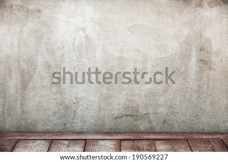 Empty interior background with wooden floor and concrete wall