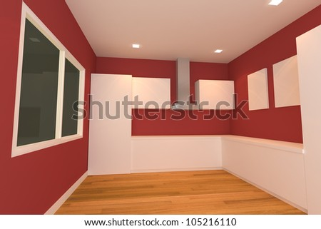 empty interior design for kitchen room with red wall.