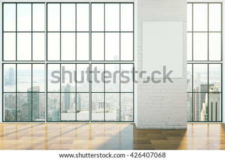 Empty interior design with framed windows, wooden floor and blank poster on brick wall. Mock up, 3D Rendering - stock photo