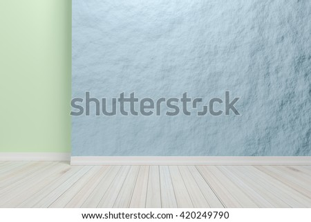 Empty interior light blue room with wooden floor, For display of your products.  - 3D render image.