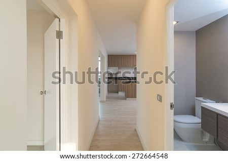 Empty Interior Living , kitchen and bath Room in a new apartment - stock photo