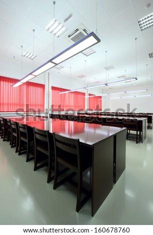 Empty Interior of Reading Room - stock photo