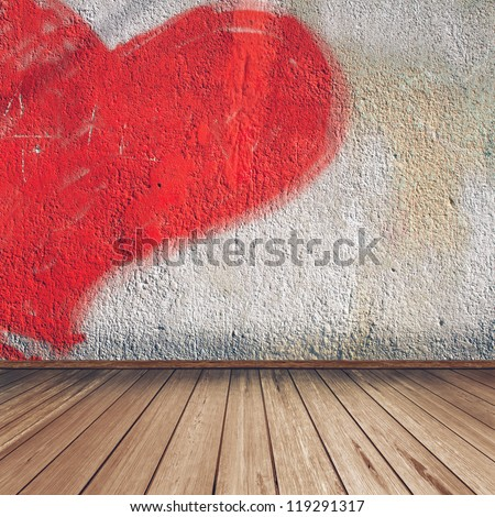Empty interior of vintage room without ceiling, wall from plaster with heart and old wood floor. Pattern gallery to the exhibition. Realistic 3d background for the cover design or photo album pages