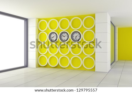 empty interior office space in a modern style made ??in yellow and white colors