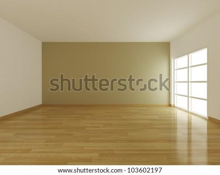 empty interior room and window open