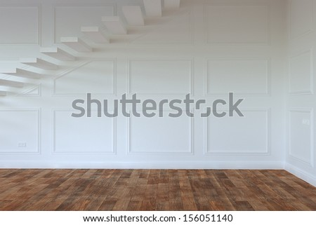 Empty Interior Room Whith Stairs To Second Floor - stock photo