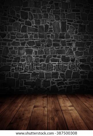 empty interior room with brick wall. - stock photo