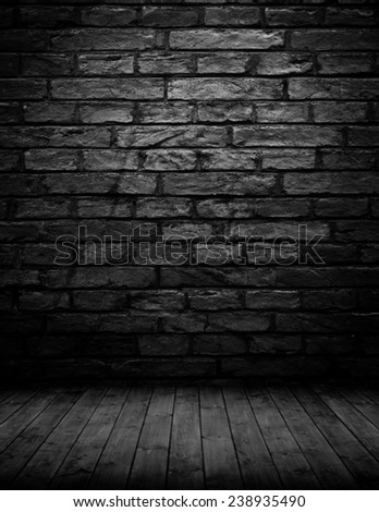 empty interior room with brickwall in black and white. - stock photo